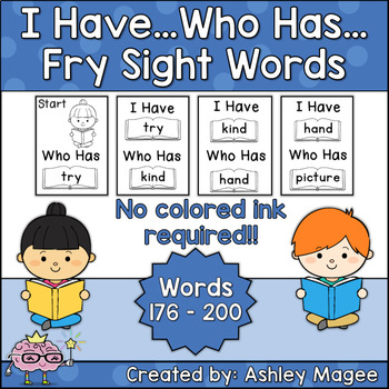 I Have Who Has Fry Words - Eighth 25 Words (Words 176-200)