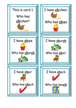 I Have, Who Has Game - CH Digraphs