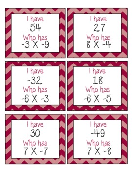 I Have, Who Has Game: Multiplication and Division of Integers