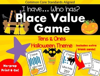 I Have... Who Has - Halloween Theme - Place Value Tens & O