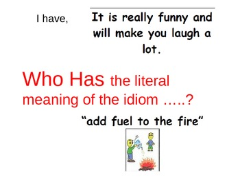 I Have, Who Has- Idioms