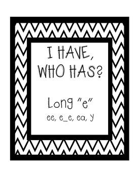 """I Have, Who Has - Long """"e"""" - ee, e_e, ea, y"""