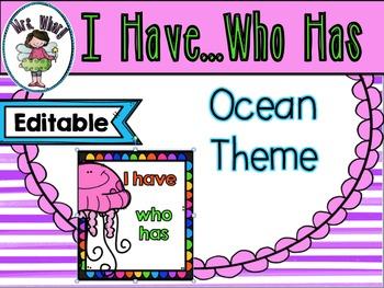 I Have....Who Has Ocean Theme {Editable}