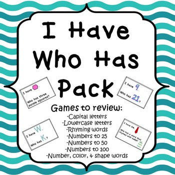I Have Who Has Pack-Capital & Lowercase Letters, Rhyming W