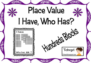 I Have Who Has Place Value Counting Hundreds, Tens, and On