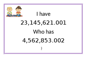 I Have, Who Has Place Value (Decimals included)