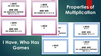 I Have, Who Has Properties of Multiplication
