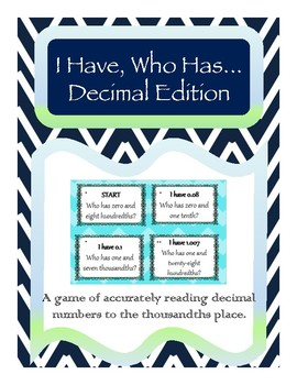I Have Who Has Reading Decimal Numbers Game *Differentiate