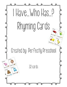 I Have Who Has Rhyming Cards