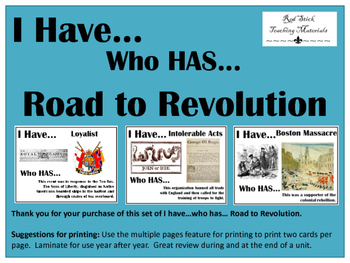 I Have..Who Has.. Road to Revolution