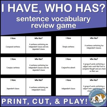 I Have Who Has Sentence Vocabulary Game