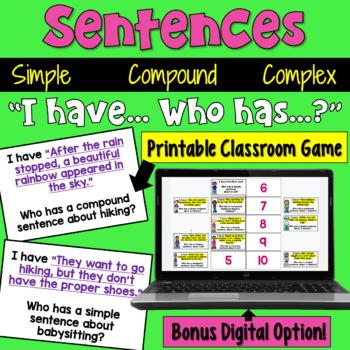 I Have... Who Has:  Sentences (Simple, Compound, and Complex)