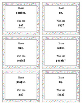 I Have, Who Has Sight Word Game 4