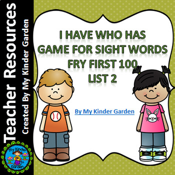 I Have Who Has Sight Word Game Fry List 2 from First 100 Words