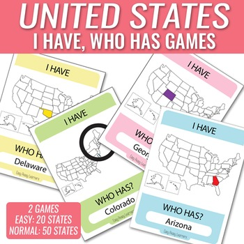 I Have, Who Has States Game - 50 States and Easier 20 States Game