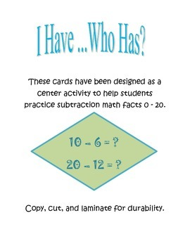 I Have, Who Has Subtraction Facts 1 - 20 for Centers, DIY'