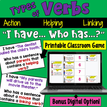 I Have... Who Has:  Verbs (Action, Linking, & Helping) Who