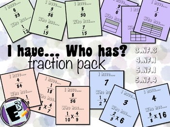 I Have Who Has - card game for Fractions (equivalent and m