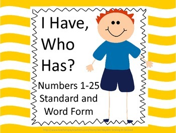 Numbers and number words to 25- I Have, Who Has?