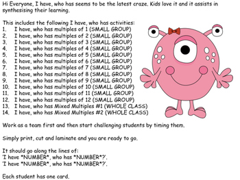 I Have, Who has - Multiplication - 1, 2, 3, 4, 5, 6, 7, 8,