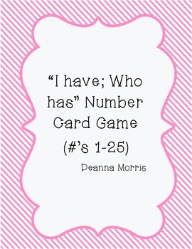 """""""I Have; Who has"""" Number Cards (using numbers and base ten"""