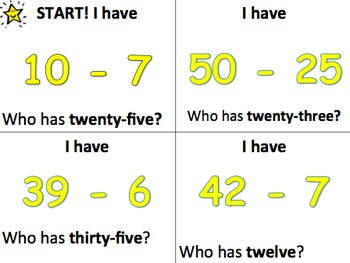 I Have, Who has - Subtraction - SMALL GROUP