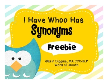 I Have Whoo Has Synonyms Freebie