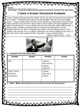 I Have a Dream Speech Document Analysis