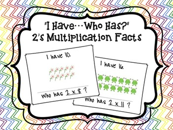 """I Have...Who Has?"" 2's Multiplication Facts with Arrays FREEBIE"