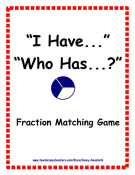 I Have...Who Has?: Fractions Learning Game (visual and num