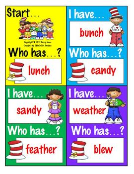 I Have...Who Has? Game - Rhyme Time Words