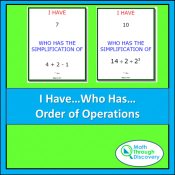 I Have...Who Has... Cards - Order of Operations