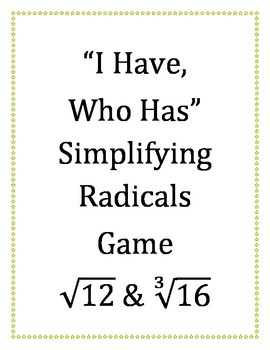 """""""I Have,Who Has"""" Radicals Game"""