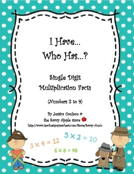 FREEBIE I Have...Who Has...?  Single Digit Multiplication