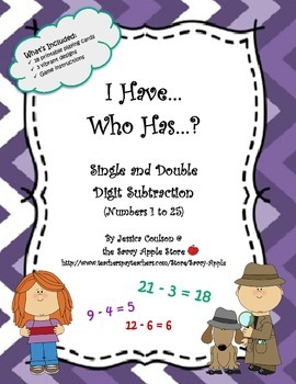 I Have...Who Has...?  Single and Double Digit Subtraction