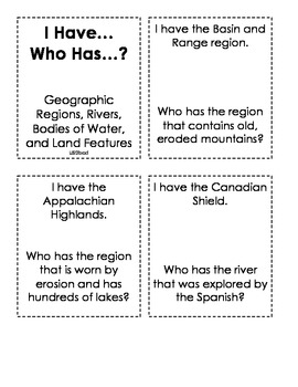 I Have...Who Has...Geographic Regions & Features