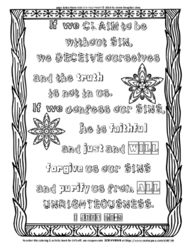 I John 1:8-9 Coloring Page and Word Puzzles