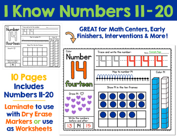 I Know Numbers 11-20:  Number Sense and Skills for Numbers