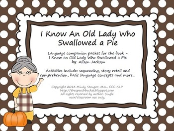 I Know an Old Lady Who Swallowed a Pie - Language Packet (