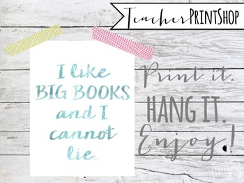 I Like Big Books quote Watercolor Print poster