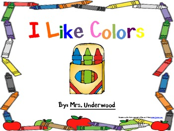 I Like Colors Emergent Reader