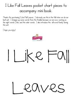 I Like Fall Leaves pocket chart