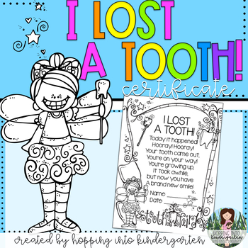 I Lost A Tooth! Certificate