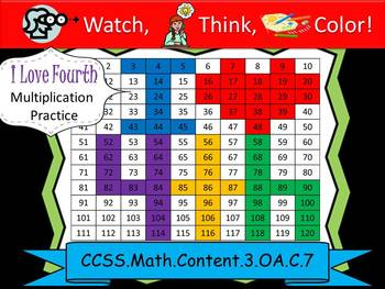 I Love Fourth Multiplication Practice - Watch, Think, Colo