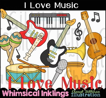 I Love Music Instruments Clipart Collection