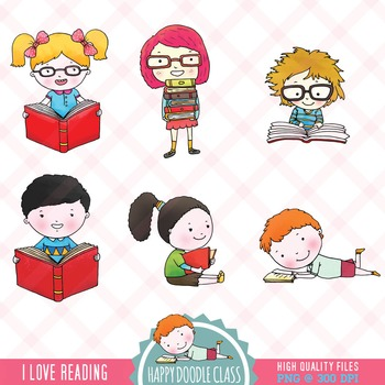 I Love Reading Books Clip Art. 18 pieces. FREE.