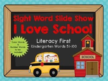 Sight Word Slide Show, Literacy First Kindergarten Words 5