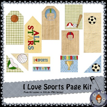 I Love Sports page kit