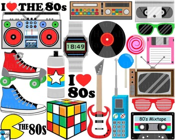 I Love The 80s v1 - Clip Art Digital Files Personal Commer