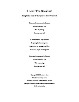 I Love the Four Seasons! Song for Pre-K and Primary Children